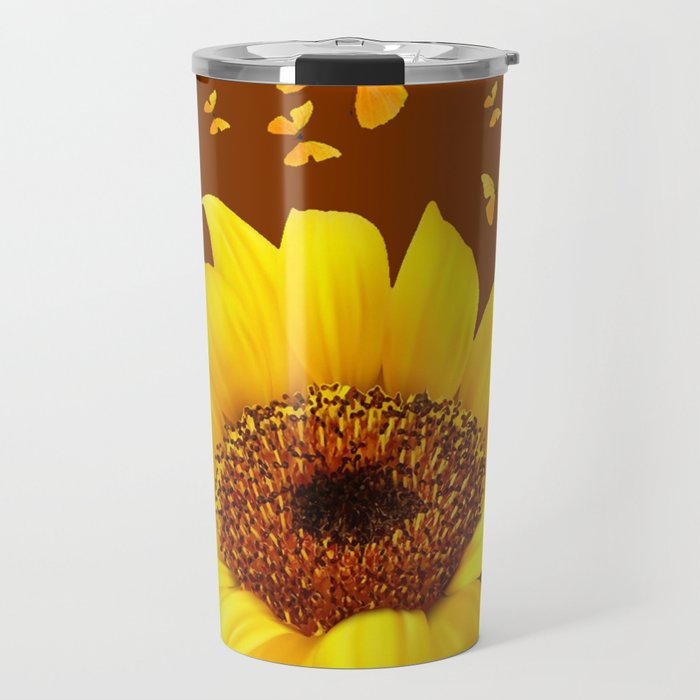 COFFEE BROWN YELLOW SUNFLOWER & BUTTERFLIES Travel Mug