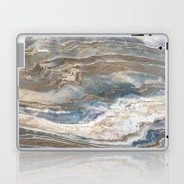 Pearly Blue Swirl Marble Laptop & iPad Skin