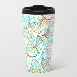 grid in yellow and blue and petals Travel Mug