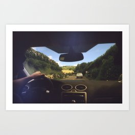 Roads Lined with Hydrangeas  Art Print
