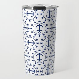 Navy Blue Anchors and Stars Nautical Pattern Travel Mug