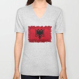"""Flag of Albania - in """"Super Grunge"""" Unisex V-Neck"""