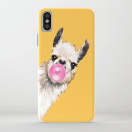 Bubble Gum Sneaky Llama in Yellow iPhone Case