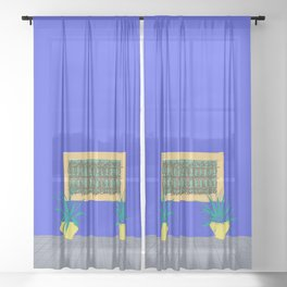 Le Jardin Majorelle, Marrakech (Marrakesh), Morocco Travel Poster Sheer Curtain