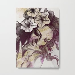 In The Year Of Our Lord: Wine (smiling lady with petunias) Metal Print