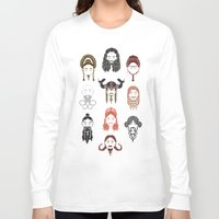 middle earth Long Sleeve T-shirts featuring The Unwritten Lady Dwarves of Middle Earth by geeksweetie