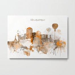 Albuquerque Warm Color Skyline Metal Print