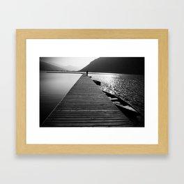 Wooden lake pier Framed Art Print