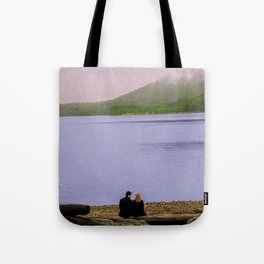 Conversation on the log - oil color painting Tote Bag