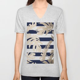 Simply Tropical Palm Leaves on Navy Stripes Unisex V-Neck