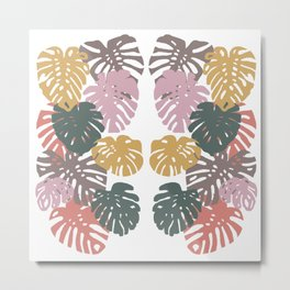 Multicolor Swiss Cheese Plant Leaves Metal Print