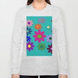 Flower Power - Teal Background - Fun Flowers - 60's Style - Hippie Syle Long Sleeve T-shirt