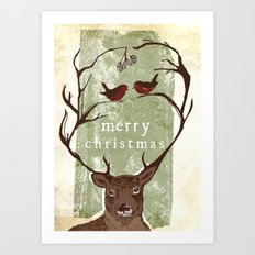 Reindeer Mistletoe Christmas Card Art Print