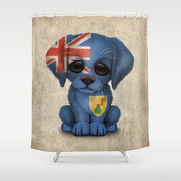 Cute Puppy Dog with flag of Turks and Caicos Shower Curtain