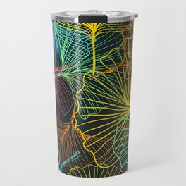 Ginkgo Biloba Leaves in Retro Rainbow Travel Mug
