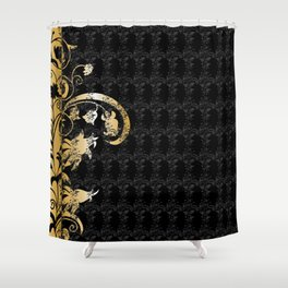 Abstract floral ornament in black and gold colors Shower Curtain