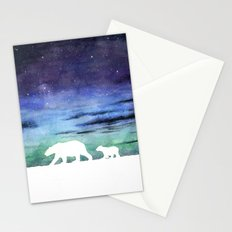 Aurora borealis and polar bears (white version) Stationery Cards