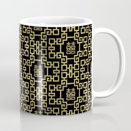 Chinese Pattern Double Happiness Symbol Gold on Black Coffee Mug