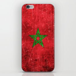 Vintage Aged and Scratched Moroccan Flag iPhone Skin
