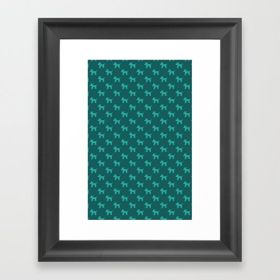 Dogs-Teal Framed Art Print