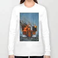 house Long Sleeve T-shirts featuring House on Fire by FAMOUS WHEN DEAD