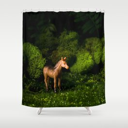 A Small Brown Horse in the Valley Shower Curtain