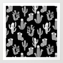 Cactus linocut black and white minimal desert southwest socal joshua tree Art Print