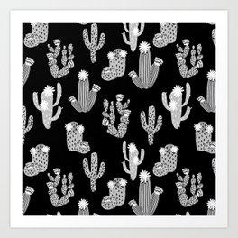 Cactus linocut black and white minimal desert southwest socal joshua tree Art Print