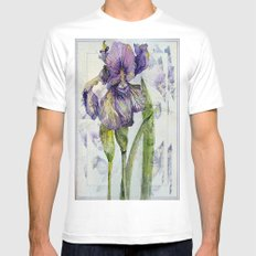 Iris Abstract White Mens Fitted Tee MEDIUM