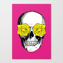 Skull and Roses | Pink and Yellow Canvas Print