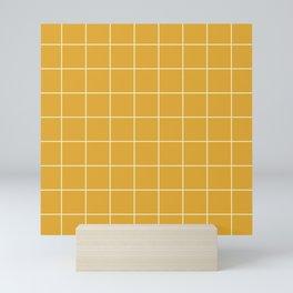 Yellow #9 Grid Stripe Lines Minimalist Geometric Line Stripes Mini Art Print