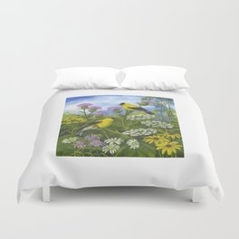 Goldfinches and Thistle Duvet Cover