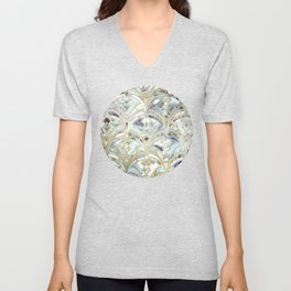 Pale Bright Mint and Sage Art Deco Marbling Unisex V-Neck