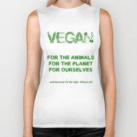 vegan Biker Tanks featuring Why Vegan? by VegArt