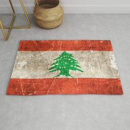 Vintage Aged and Scratched Lebanese Flag Rug