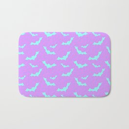 Blue Bat Pattern on Purple Bath Mat