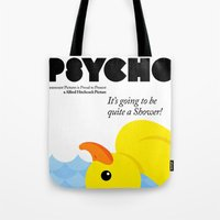 psycho Tote Bags featuring Psycho by Chá de Polpa