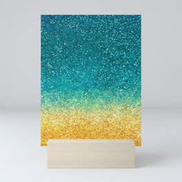Jade and Yellow Ombre Sparkles Mini Art Print