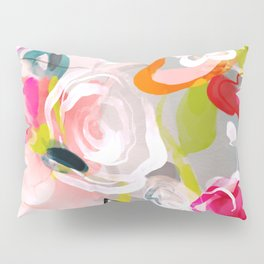 Dream flowers in pink rose floral abstract art Pillow Sham