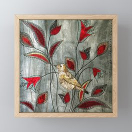 Golden bird Framed Mini Art Print