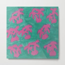 Pink and Green Island Palms Metal Print
