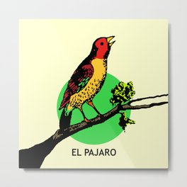 El Pajaro Mexican Loteria Card Metal Print