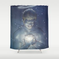 chuck Shower Curtains featuring [ Supernatural ] God Chuck Shurley Rob Benedict by Vyles