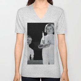 Creepy Ventriloquist Dummies that look like they might want to kill you black and white photography Unisex V-Neck