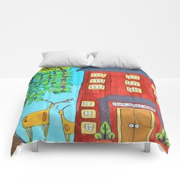 Home Sweet Home Whimsical Folk Art Painting tall red house tree deer Comforters