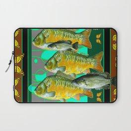 YELLOW MONARCH BUTTERFLIES & BROWN  FISH VIGNETTE Laptop Sleeve