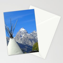 Tipi with snow capped mountains Stationery Cards
