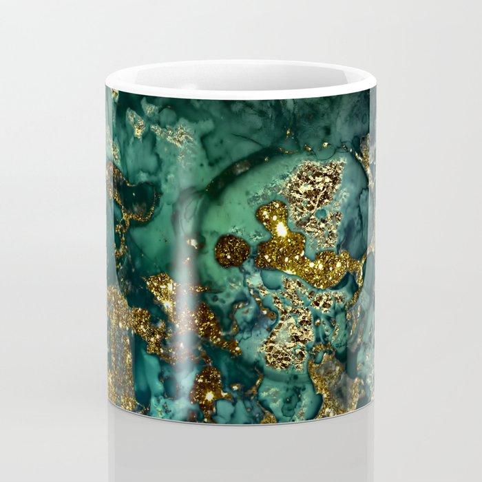 Gold Indigo Malachite Marble Coffee Mug