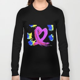 Pink Heart Ribbon (with Tie-Dye Blue-Yellow) for Breast Cancer Research by Jeffrey G. Rosenberg Long Sleeve T-shirt