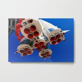 Vintage Spacecraft Boosters And Blue Sky Metal Print